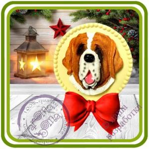 Рамка с бантом (без собаки) круглая - Авторская 2D силиконовая форма для мыла, свечей, шоколада, гипса и пр.