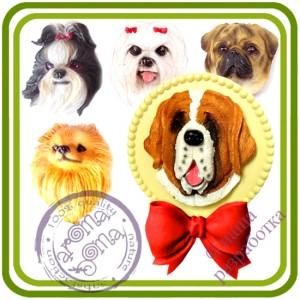 МИКС Собаки 28 видов (головы) - 2D Объемная силиконовая форма для мыла, свечей, гипса, шоколада и пр.