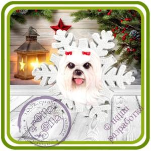 Снежинка основание - Авторская 2D силиконовая форма для мыла, свечей, шоколада, гипса и пр.