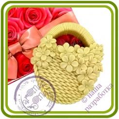 Корзина с незабудками - Авторская 2D силиконовая форма для мыла, свечей, шоколада, гипса и пр.