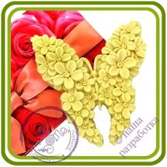 Бабочка с незабудками - Авторская 2D силиконовая форма для мыла, свечей, шоколада, гипса и пр.