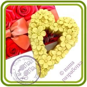 Сердечко незабудки №2 - Авторская 2D силиконовая форма для мыла, свечей, шоколада, гипса и пр.