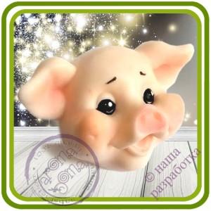 Поросенок Мальчик - Авторская 2D силиконовая форма для мыла, свечей, шоколада, гипса и пр.