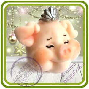 Поросенок Девочка - Авторская 2D силиконовая форма для мыла, свечей, шоколада, гипса и пр.