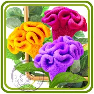 Целозия букетная 1 (петушиный гребешок) - Авторская 3D силиконовая форма для мыла, свечей, шоколада, гипса и пр.