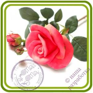 Роза 3 букетная малая - Авторская 3D силиконовая форма для мыла, свечей, шоколада, гипса и пр.