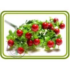 Букетик брусничника с ягодами. КРАСНЫЙ. Декор искуств. зелень