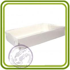 Коробка прямоуг. белая с прозрачной крышкой