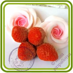 Клубника Букетная (4 ягоды на ножке). Авторская 3D силиконовая форма для мыла, свечей, шоколада, гипса и пр.