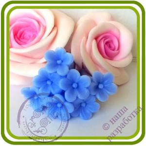 Мелкоцвет Незабудок Букетный (7 цветочков на ножке). Авторская 3D силиконовая форма для мыла, свечей, шоколада, гипса и пр.