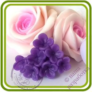 Мелкоцвет Сирени Букетный (7 цветочков на ножке). Авторская 3D силиконовая форма для мыла, свечей, шоколада, гипса и пр.