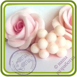 Жемчужины букетные МЕЛКИЕ (10 шариков на ножке). Авторская 3D силиконовая форма для мыла, свечей, шоколада, гипса и пр.