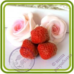 Клубника Букетная (3 ягоды на ножке). Авторская 3D силиконовая форма для мыла, свечей, шоколада, гипса и пр.