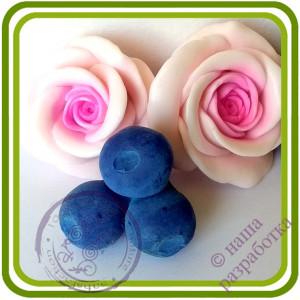 Черника, Голубика Букетная КРУПНАЯ  (3 ягоды на ножке). Авторская 3D силиконовая форма для мыла, свечей, шоколада, гипса и пр.