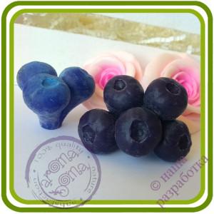 Черника, Голубика Букетная КРУПНАЯ  (5 ягод на ножке). Авторская 3D силиконовая форма для мыла, свечей, шоколада, гипса и пр.