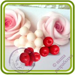 Вишня, Черешня Букетная МИНИ (3 ягоды на ножке). Авторская 3D силиконовая форма для мыла, свечей, шоколада, гипса и пр.
