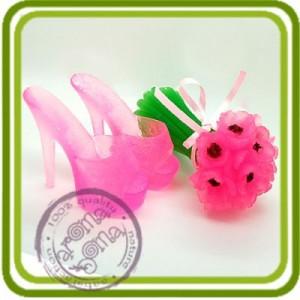 Букет анемонов, маков на стебле (2 размера).  3D силиконовая форма для мыла, свечей, шоколада, гипса и пр.