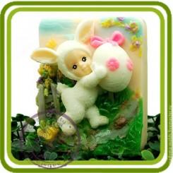 Зайка малыш с яйцом - Объемная силиконовая форма для мыла