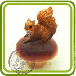 Белочка и гриб 3д - Объемная силиконовая форма для мыла