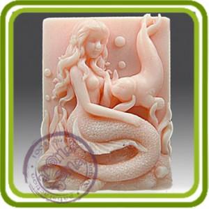 Русалочка Дельфина и котик - 2D силиконовая форма для мыла, свечей, шоколада, гипса и пр.