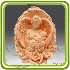 Яйцо с розами (Дева ангел с младенцем) - Объемная силиконовая форма для мыла