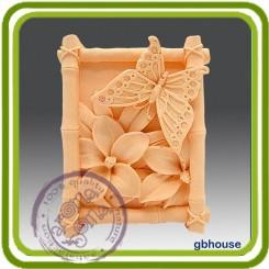 Бабочка в бамбуковой рамке - Объемная силиконовая форма для мыла №35