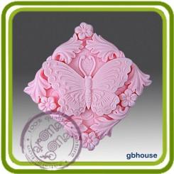 Бабочка в орнаменте - Объемная силиконовая форма для мыла №338