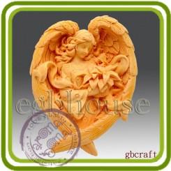 Девушка Ангел с пуансеттией - Объемная силиконовая форма для мыла №387