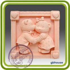 Мишки Тедди и любовь - Объемная силиконовая форма для мыла №121