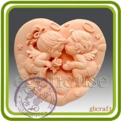 Влюбленные ангелочки - Объемная силиконовая форма для мыла №23