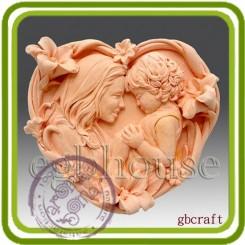 Мамина любовь 1 (сердце м) - Объемная силиконовая форма для мыла №324