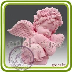 Ангел девочка с венком на голове 2д - Объемная силиконовая форма для мыла №396