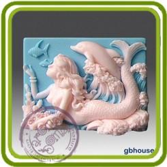 Русалочка Селена и дельфин - Объемная силиконовая форма для мыла №40