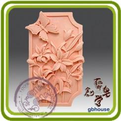 Бабочка и лилии - Объемная силиконовая форма для мыла