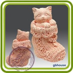 Котик в рождественском носке 3D- Объемная силиконовая форма для мыла №264