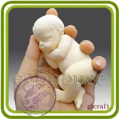 Спящий малыш (на боку) - Объемная силиконовая форма для мыла