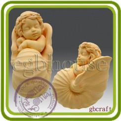 Малыш в ракушке - Объемная силиконовая форма для мыла