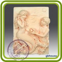 Влюбленные русалки - Объемная силиконовая форма для мыла №47