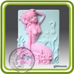 Русалочка Алина и конёк - Объемная силиконовая форма для мыла №41