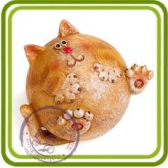 Кот шарик - Объемная силиконовая форма для мыла №624
