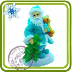Дед Мороз с медвежонком - Объемная силиконовая форма для мыла