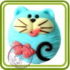 Кот и рыбка - Объемная силиконовая форма для мыла №210