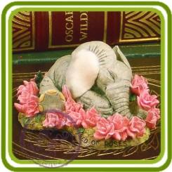 Слоник в цветах - Объемная силиконовая форма для мыла №308