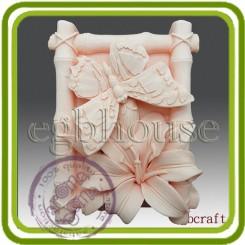 Бабочка в бамбуковой рамке (на лилиях) - Объемная силиконовая форма для мыла