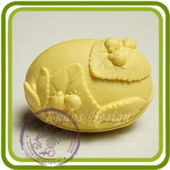 Божьи коровки на листочках (овал) 2д - Объемная силиконовая форма для мыла