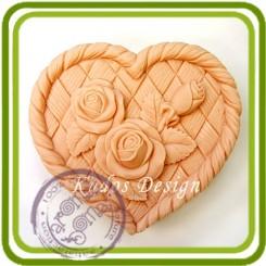 Розы на плетеном сердце 2д - Объемная силиконовая форма для мыла