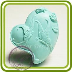 Бабочки и розы (сердце) 2д - Объемная силиконовая форма для мыла