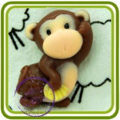 Обезьянка с бананами 2д - Объемная силиконовая форма для мыла