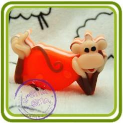 Обезьянка 2D (м) - Авторская Объемная силиконовая форма для мыла