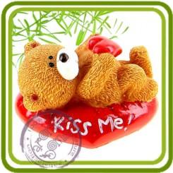 3D (serM1) Мишка лежит  (kiss me)- Объемная силиконовая форма для мыла